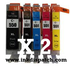 Double Set of 10 x Canon PGI-550 & CLI-551 XL Ink Cartridge Comp
